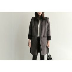 UPTOWNHOLIC - Zip-Up Faux-Shearling Long Jacket