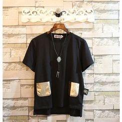 Sundipy - Short-Sleeve Pocket-Accent T-Shirt
