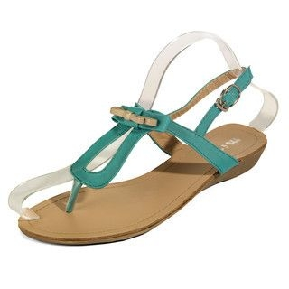 yeswalker - T-Strap Bow-Accent Wedge Sandals