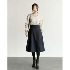 UPTOWNHOLIC - Wool Blend A-Line Midi Skirt