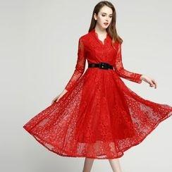 Elabo - Long-Sleeve A-Line Midi Lace Dress