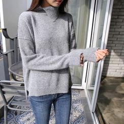 Hello sweety - Slit-Neck Wool Blend Sweater
