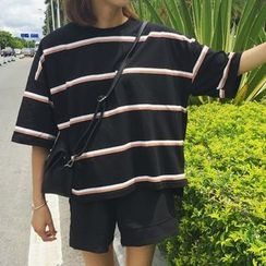 MATO - Striped Elbow Sleeve T-Shirt