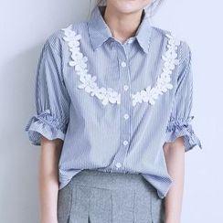 BAIMOMO - Lace Trim Striped Blouse
