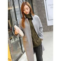 BBAEBBAE - Stand-Collar Wood Blend Long Coat