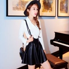 Tang House - A-Line Faux Leather Jumper Skirt