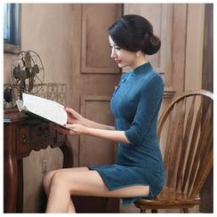 Janelle Qipao - Elbow-Sleeved Corduroy Qipao