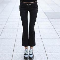 CHICFOX - Fleece-Lined Boot-Cut Pants