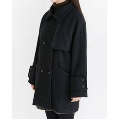 Someday, if - Capelet Double-Breasted Wool Blend Coat
