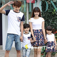 Igsoo - Family Floral Panel T-shirt / Cutout Shoulder Dress