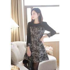 MyFiona - Mock Two-Piece Plaid Wool Blend Dress