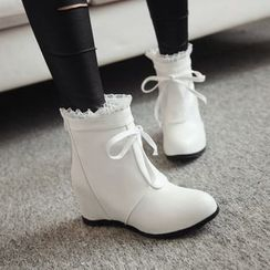 Pretty in Boots - Frill Trim Hidden Wedge Short Boots