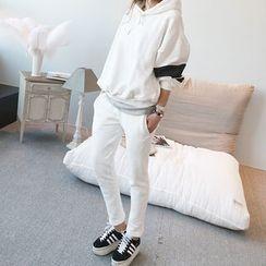 NANING9 - Set: Hooded Brushed-Fleece Pullover + Sweatpants
