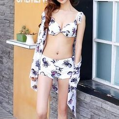 Zeta Swimwear - Set: Pineapple Print Bikini Top + Swimshorts + Cover-Up