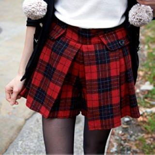 Tokyo Fashion - Flap Plaid Culottes