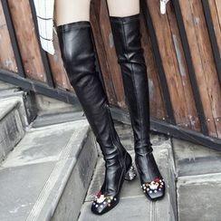 JY Shoes - Rhinestone Chunky Heel Teapot Over-the-Knee Boots
