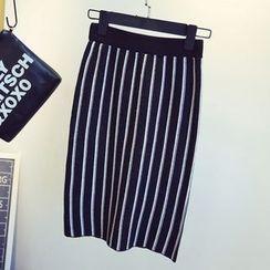 KASA - Striped Midi Skirt