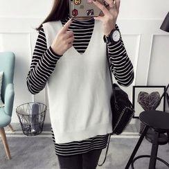 Qimi - Set: Turtleneck Striped Long Sleeve Top + Knit Vest