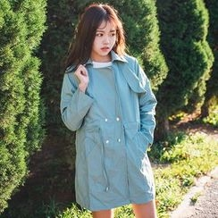 Windbird - Double-Breasted Drawstring Waist Trench Coat