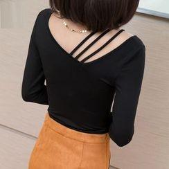 Simpure - Striped Cutout-Shoulder Knit TOp