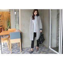 Hello sweety - Contrast-Trim Wool Blend Long Cardigan