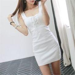 Babi n Pumkin - Sleeveless Lace-Up Mini Bodycon Dress