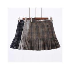 City of Dawn - Pleated Plaid Skirt