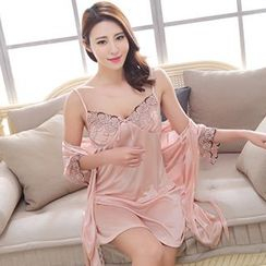 SOVINEER - Set: Embroidered Nightdress + Robe