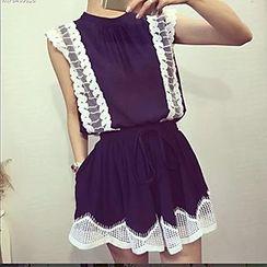 Cloud Nine - Set: Lace Panel Sleeveless Top + Skirt