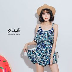 PUFII - Strappy Patterned Playsuit