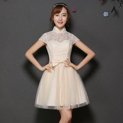 Fantasy Bride - Stand-collar Lace Panel Tulle Bridesmaid Dress