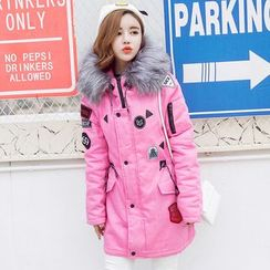 Sienne - Furry Trim Hooded Padded Parka