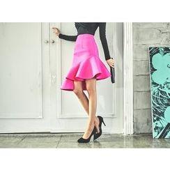 UUZONE - Ruffle-Hem Neoprene Skirt