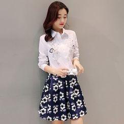 Mandalle - Set: Flower Embroidered Shirt + Floral Print A-Line Skirt