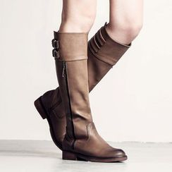 MIAOLV - Zip Buckled Tall Boots