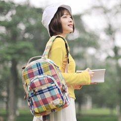 SUPER LOVER - Plaid Canvas Backpack