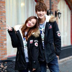 Evolu Fashion - Faux-Fur Hood Appliqué Couple Parka