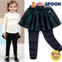 JELISPOON - Girls Inset Check Skirt Fleece-Lined Leggings
