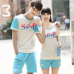 Igsoo - 情侶套裝: 印花短袖T恤 + 短褲