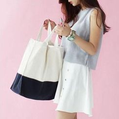 TangTangBags - Contrast-Color Canvas Shopper Bag