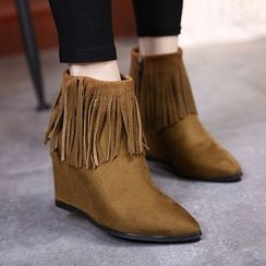 Anran - Fringed Hidden Wedge Ankle Boots