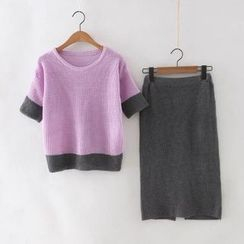 Neeya - Set: Two-Tone Knit Elbow-Sleeve Top + Knit Midi Skirt