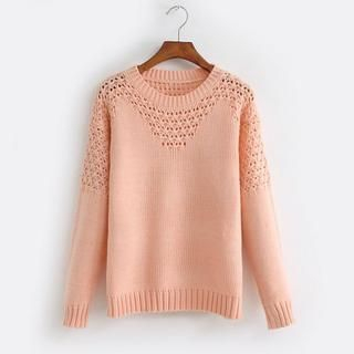 JVL - Pointelle-Knit Sweater