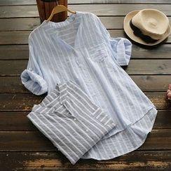 YOYO - Stand Collar Striped Blouse