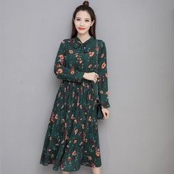 Sienne - Floral Print Long Sleeve Midi Dress