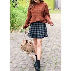 J-ANN - Elastic-Waist Check Skirt