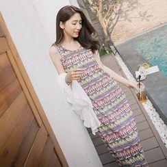 Tokyo Fashion - Sleeveless Patterned Midi Dress