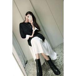 ATTYSTORY - Ruffle-Hem Color-Block Long Dress