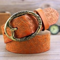 Coco Rush - Floral Embossed Genuine Leather Belt