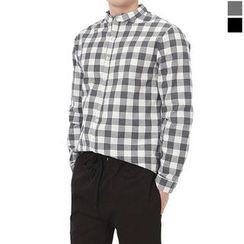 Seoul Homme - Mandarin-Collar Check Shirt